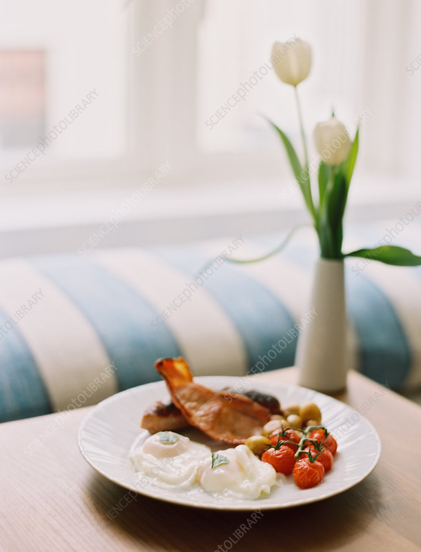 Plate of bacon and eggs, fried breakfast