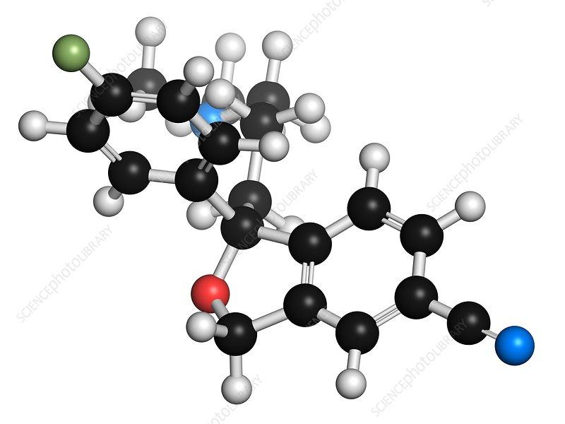 Escitalopram antidepressant drug molecule