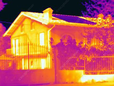 House with solar panels, thermogram
