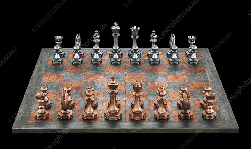 Chess board and pieces, illustration