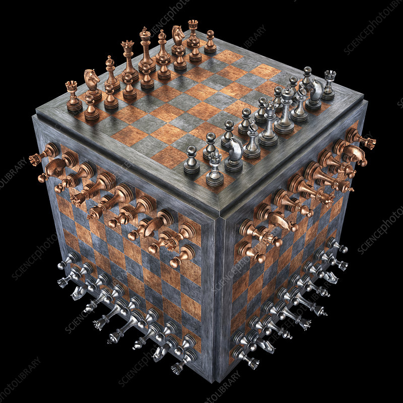 Chess board in a cube shape, illustration