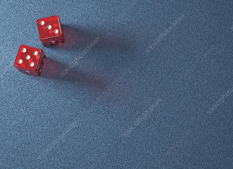 Red dice, illustration