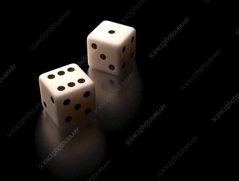 Two white dice, illustration