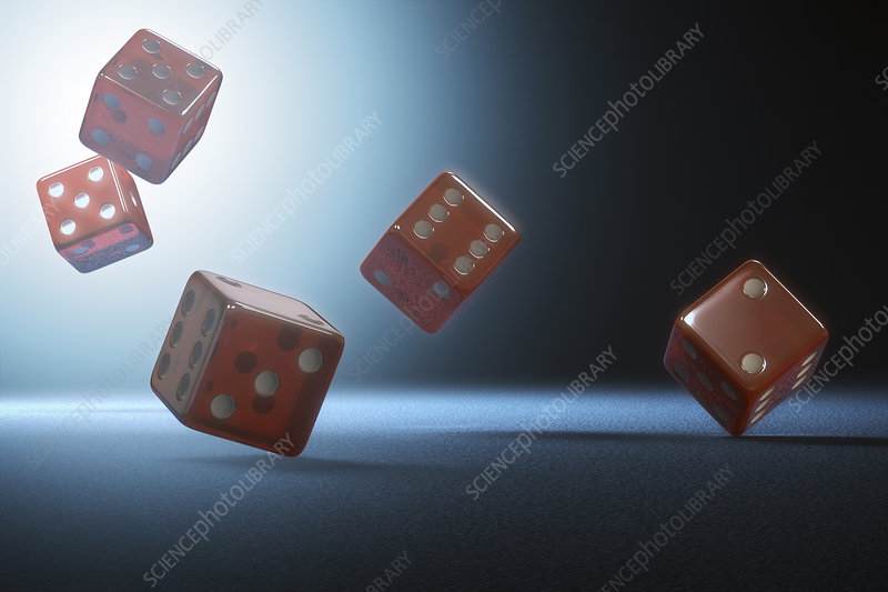 Red dice falling, illustration