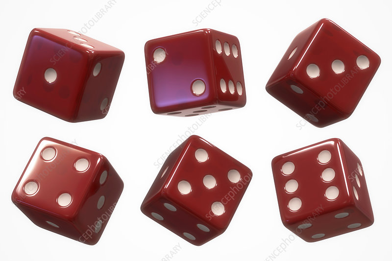 Six red dice, illustration