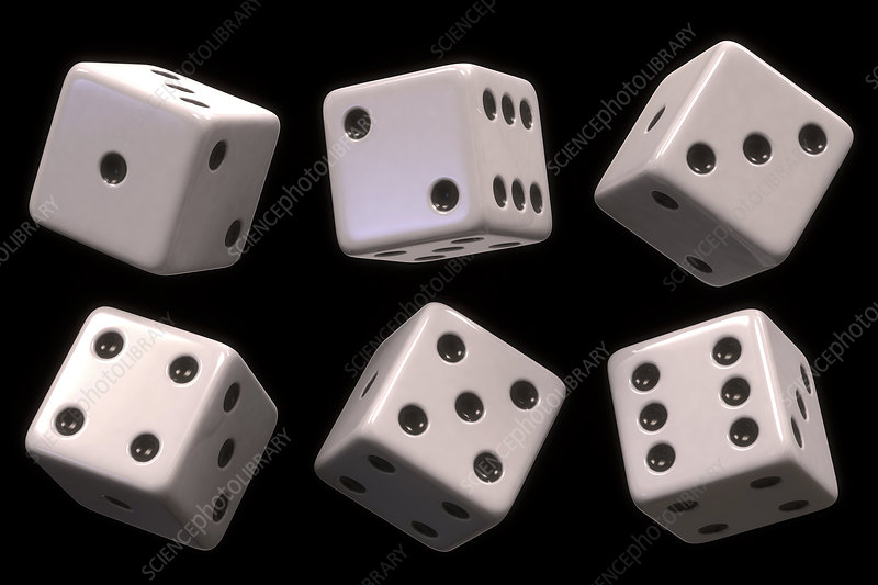 Six white dice, illustration
