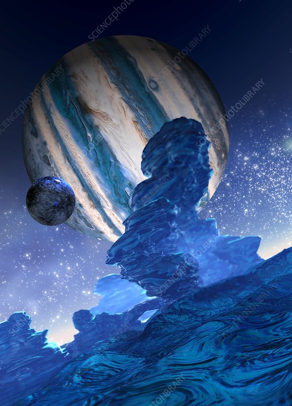 Moon orbiting a planet, illustration
