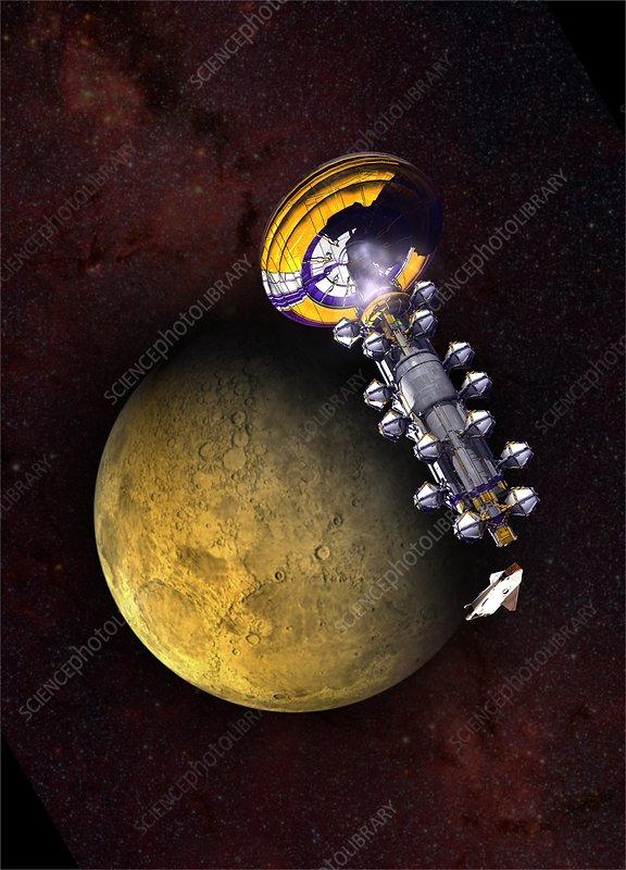 Spacecraft in Mars' orbit, illustration