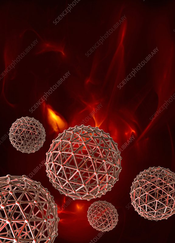Spheres on red background, illustration