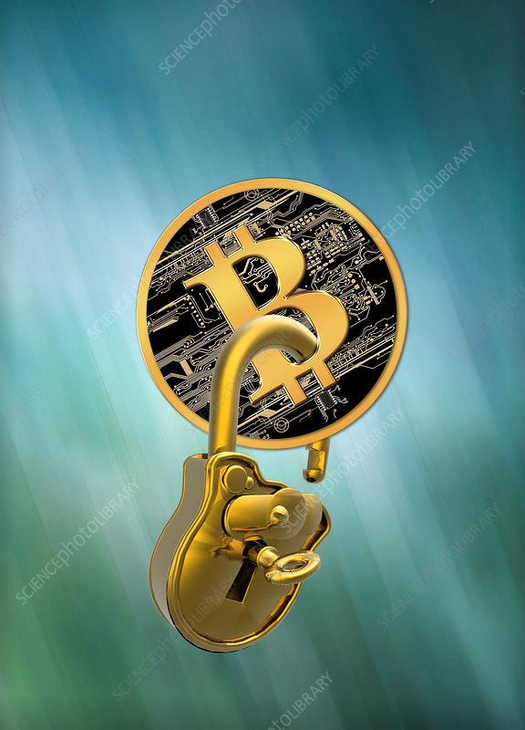 Bitcoin and padlock, illustration