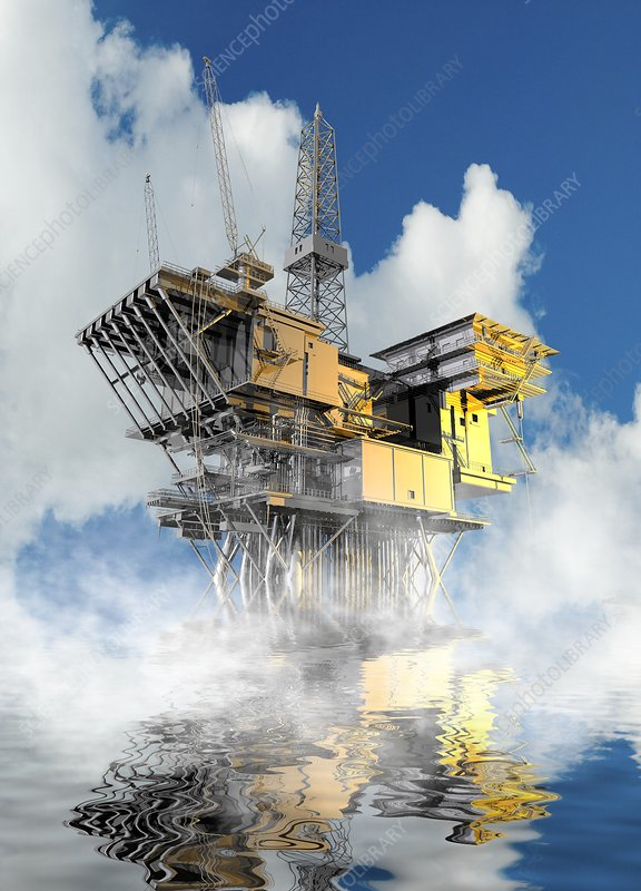 Oil rig at sea, illustration