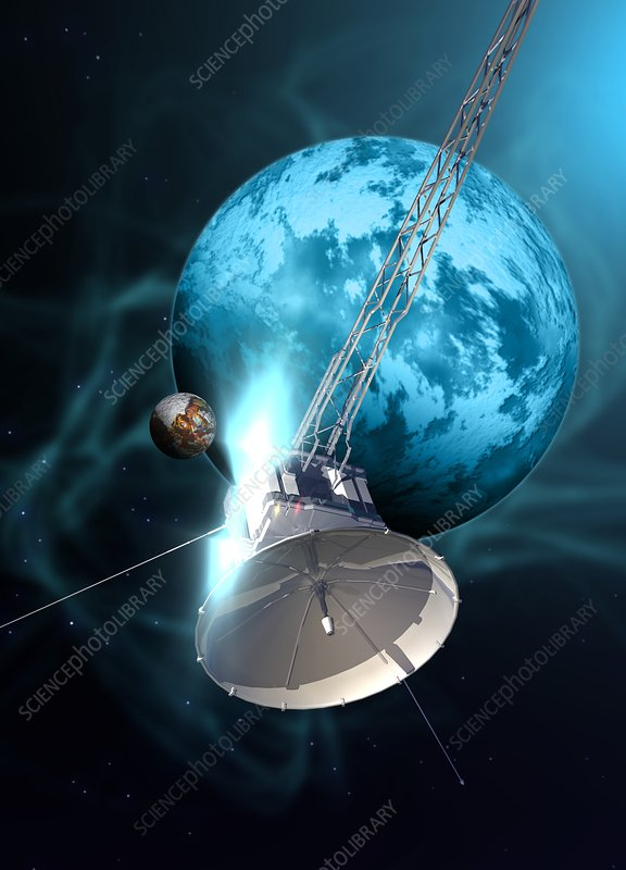 Robotic probe in deep space, illustration