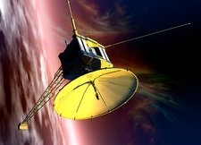 Robotic probe in deep space, illustration