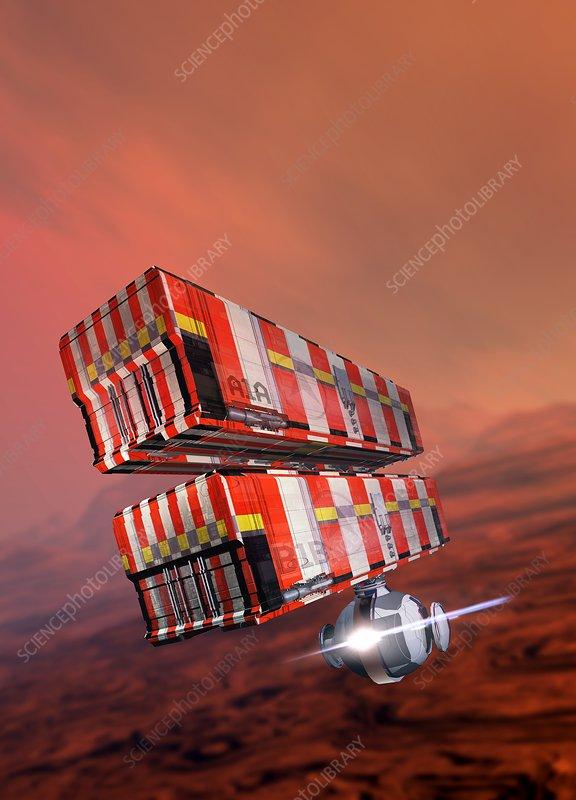 Industrial vehicles on Mars, illustration
