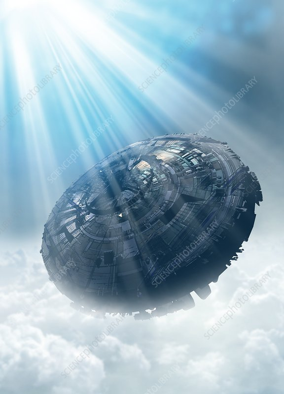UFO in the cloud, illustration