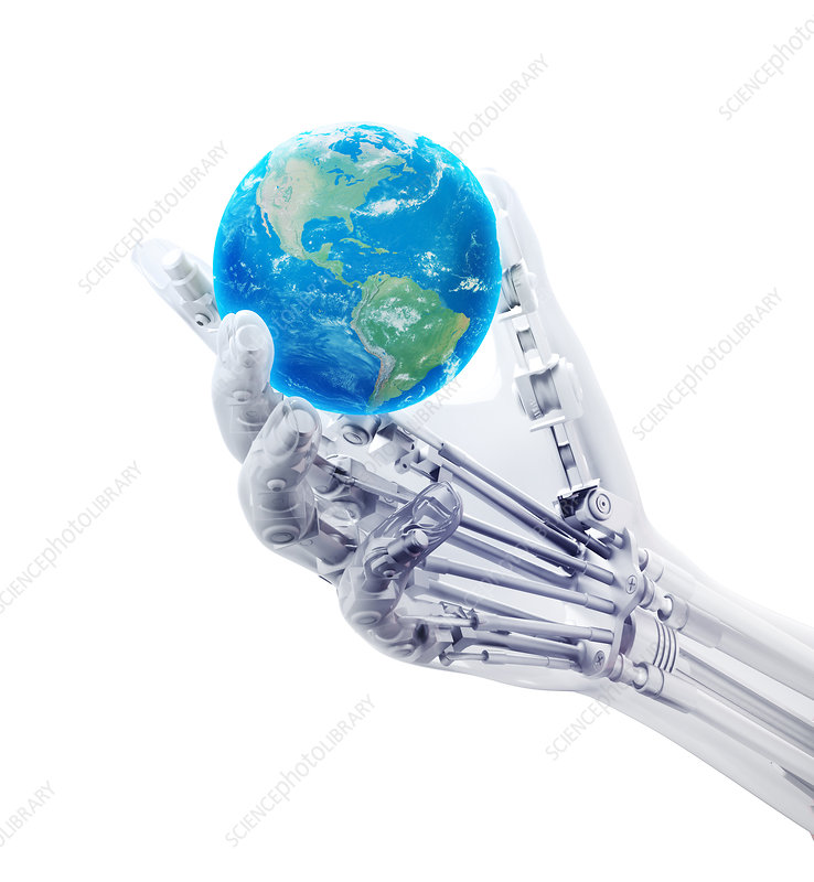 Robotic hand and globe, illustration
