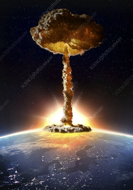 Nuclear bomb explosion, illustration