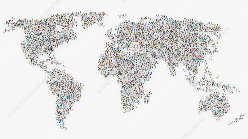 Global population, illustration