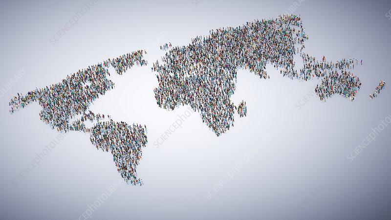 Global population, illustration