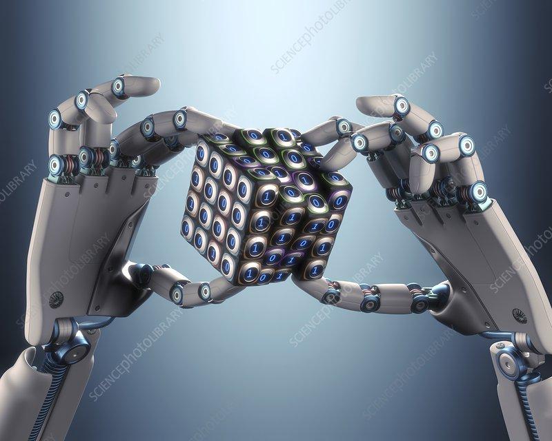 Robotic hand holding cube, illustration