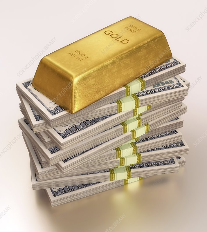 Gold bullion and US dollars, illustration