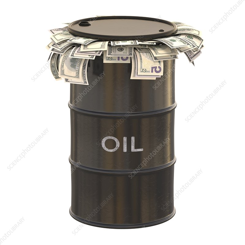 Oil barrel with US dollars, illustration