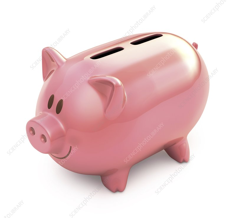 Piggy bank with two slots, illustration