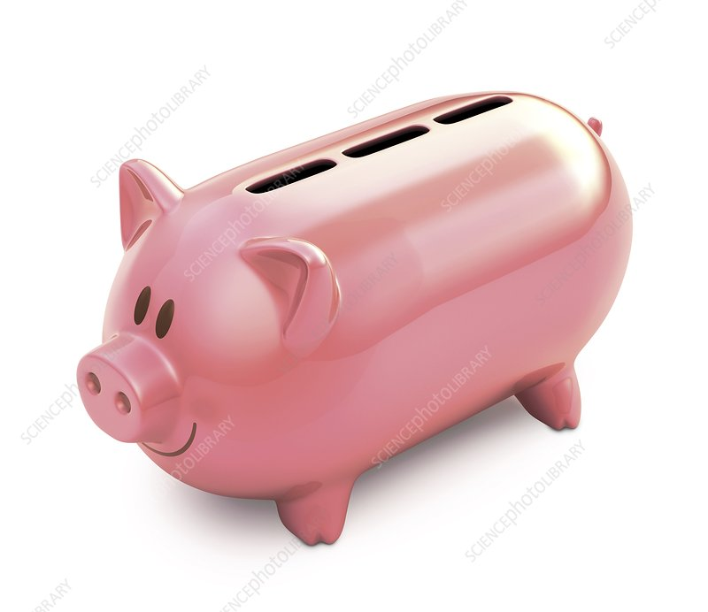 Piggy bank with three slots, illustration