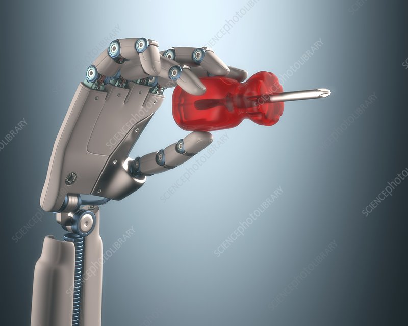 Robotic hand holding screwdriver