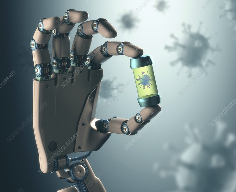 Robotic hand holding virus, illustration