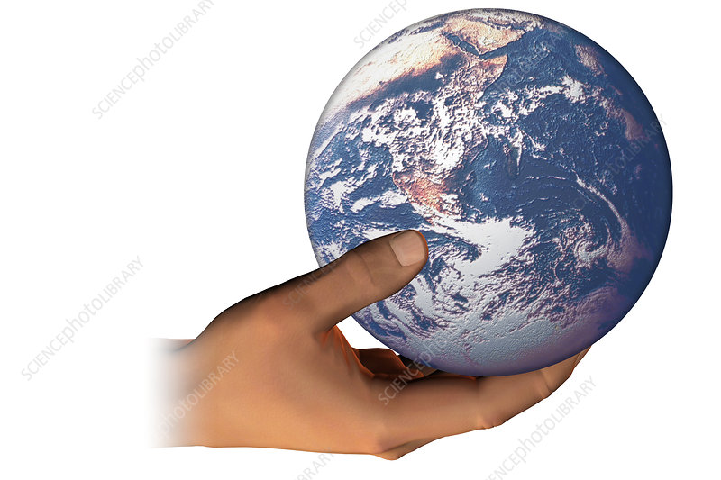 Hand holding the Earth, illustration