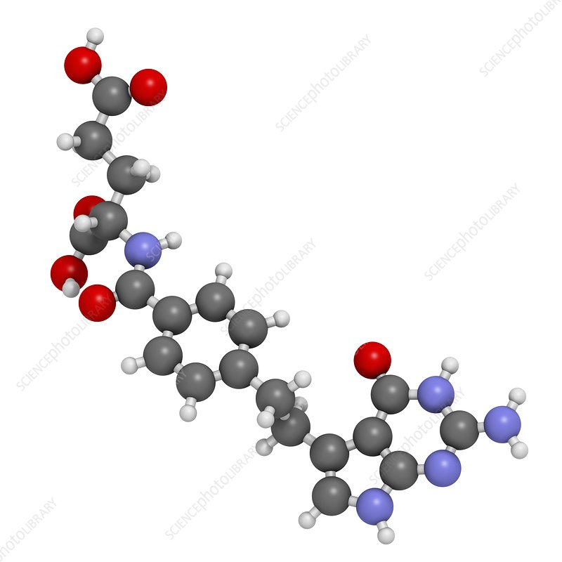 Pemetrexed lung cancer drug molecule