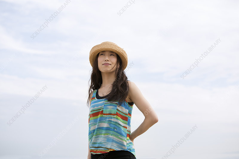 Woman on a beach in Kobe, Japan