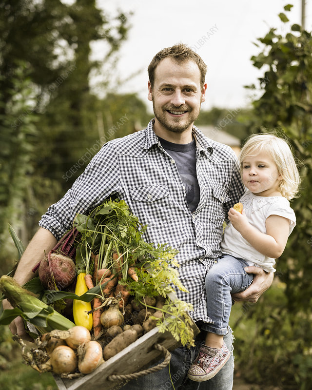 Man in his allotment with his daughter