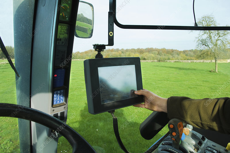 Computer touch screen aboard a tractor
