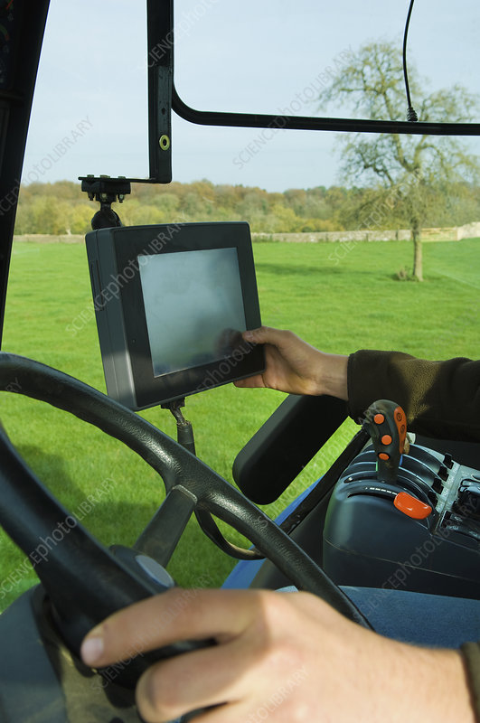 Computer screen aboard a tractor