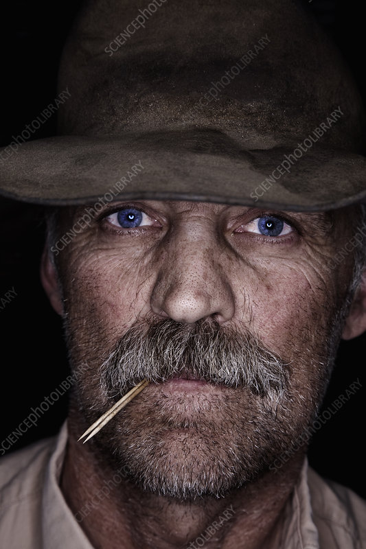Cowboy in a battered hat