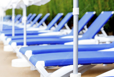 Sunloungers in a row