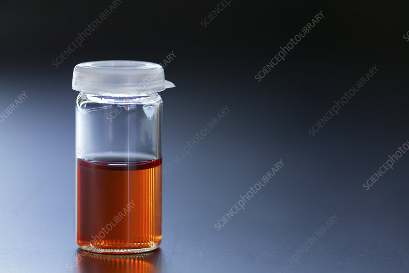 Liquid in a glass vial
