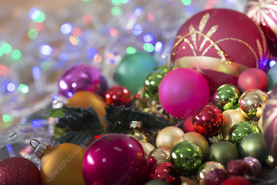 Christmas baubles in a pile