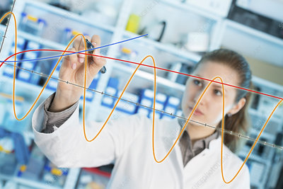 Lab assistant drawing graph