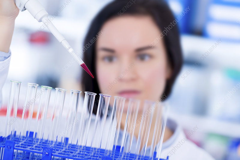 Lab assistant using pipette