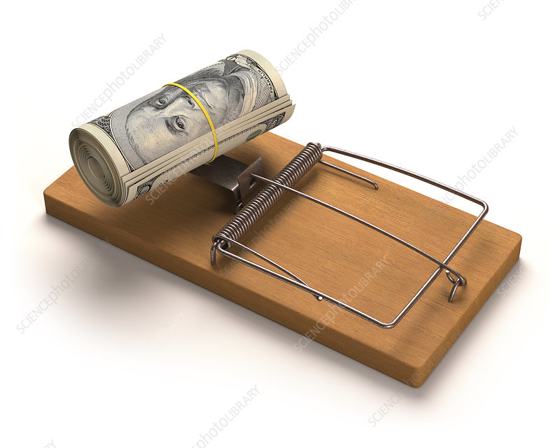 Mouse trap with bank notes, illustration