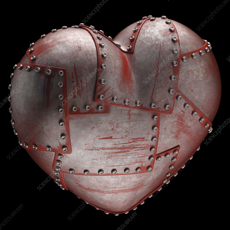 Steel heart with rivets, illustration