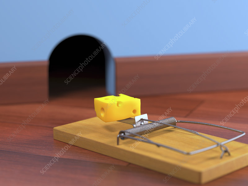 Mouse trap on the floor, illustration