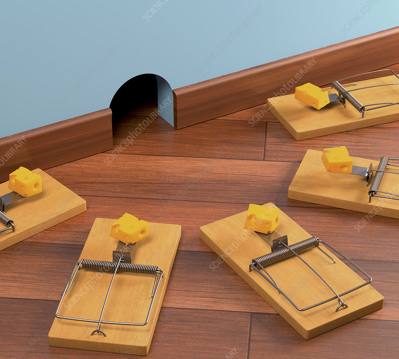 Mouse traps on the floor, illustration