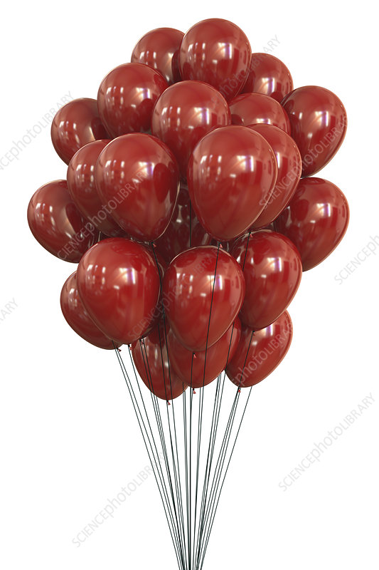Red balloons, illustration