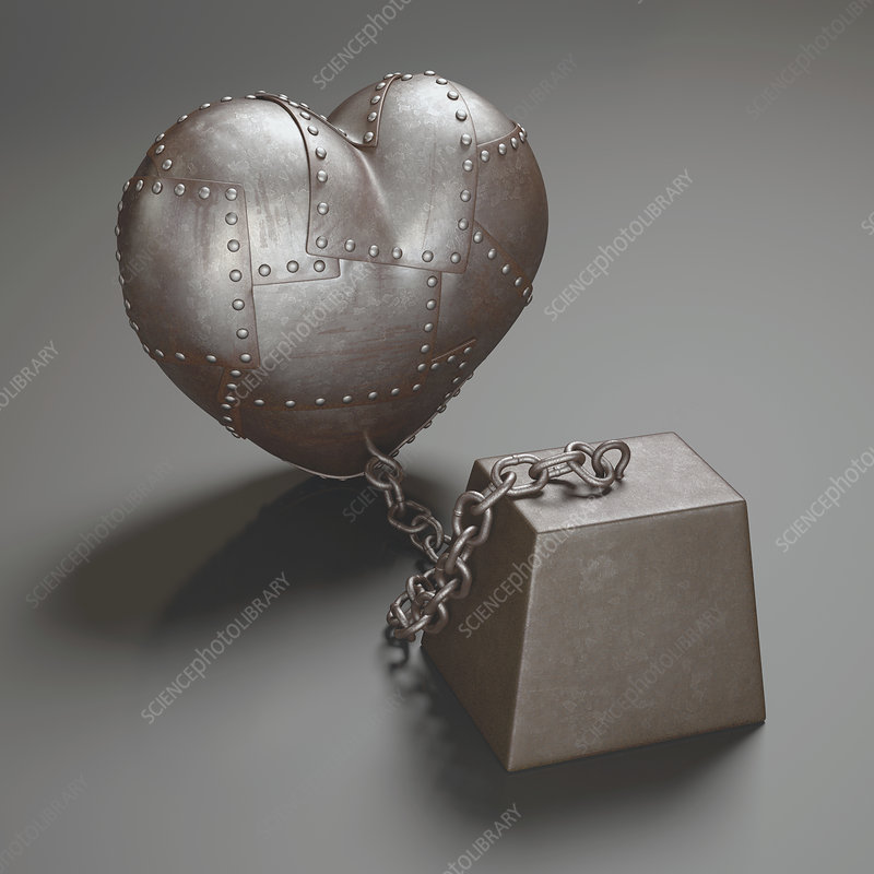 Metal heart and weight, illustration