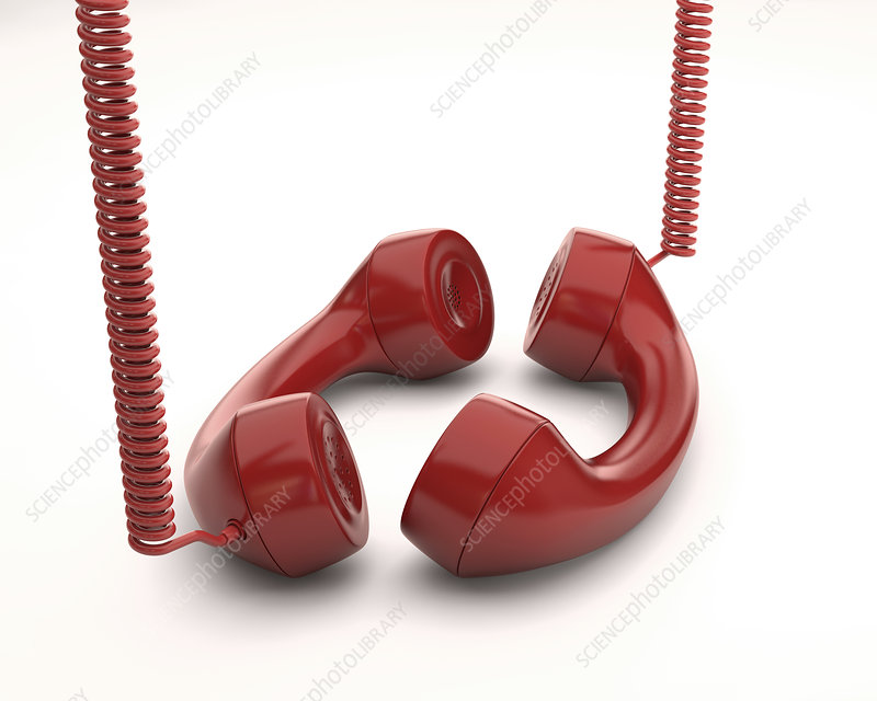 Red telephone handsets, illustration