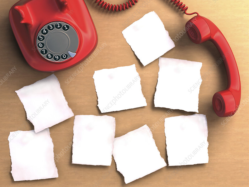 Red telephone and paper, illustration